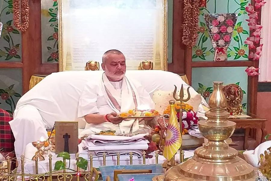 Brahmachari Girish Ji doing Aarti during Rudrabhishek organized on the auspicious of Shri Shivratri Celebration at Gurudev Brahmanand Saraswati Ashram Bhopal