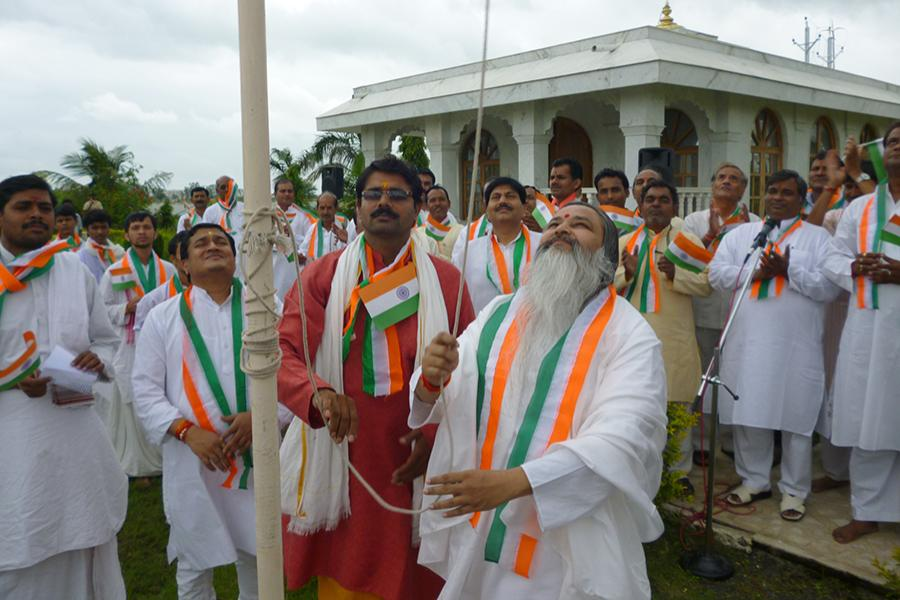 Brahmachari Girish Ji hoisting the flag of India on 15 August 2014,