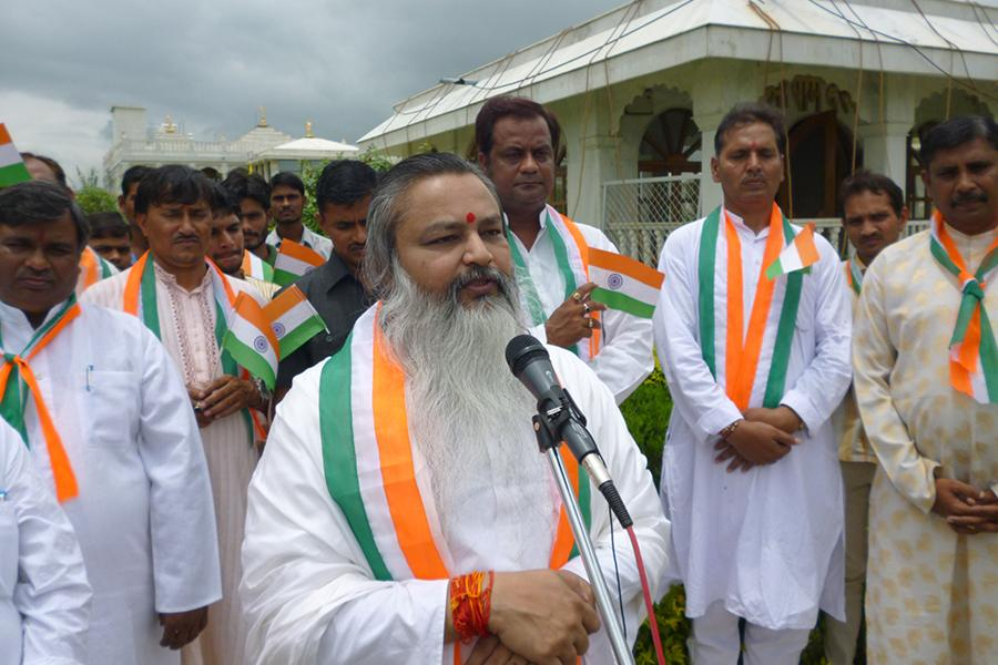 Brahmachari Girish Ji addressing Vedic Pundits and audience on 15 August 2014, independence Day at Gurudev Swami Brahmanand Saraswati Ashram Bhopal