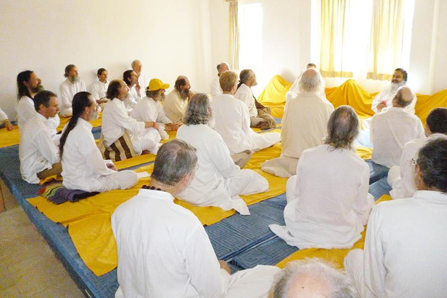 Brahmachari Girish Ji meeting with Purusha Group at Brahmsthan of India Feb. 2015.