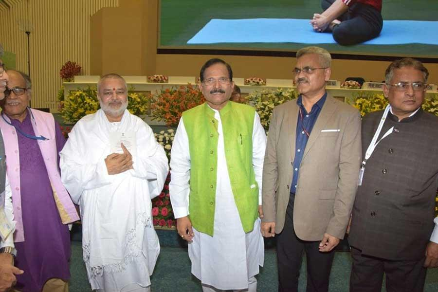 Brahmachari Girish Ji with Union Minister of Ayush Shri Shripad Naik Ji at Vigyan Bhawan Delhi with officials of Ayush Ministry, Government of India.
