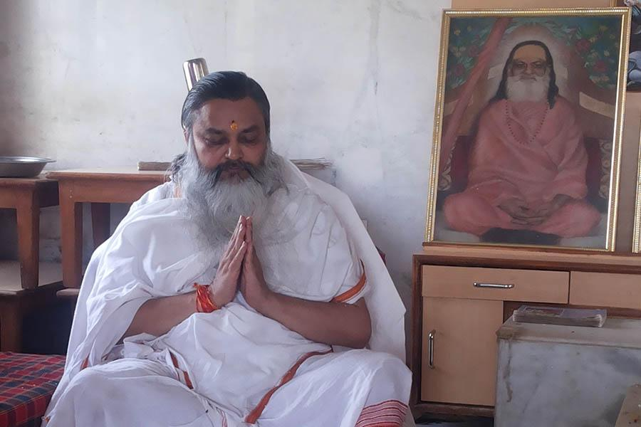 Brahmachari Girish Ji, performing Shri Ganapati and Mahalakshmi Yagya in June 2014 at Bhopal Maharishi Ved Vigyan Vishwa Vidyapeetham campus.