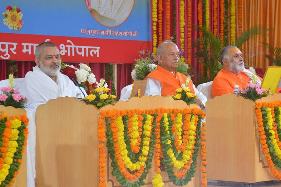 Brahmachari Dr Girish Varma Ji on the stage during Gurupurnima celebration on 27th July 2018 at Maharishi Utsav Bhawan, Gurudev Brahmanand Saraswati Ashram Bhopal.
